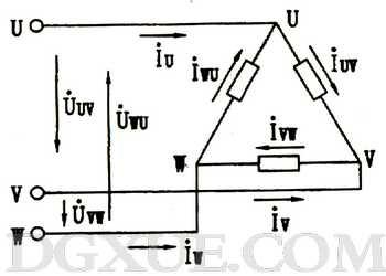 负载三角形连接的三相电路图