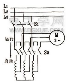 三相异步电动机自耦变压器降压启动原理图