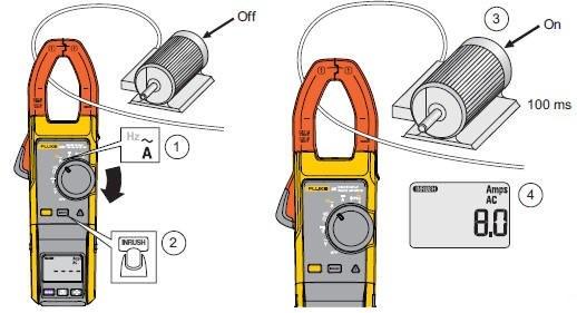 钳形电流表的使用方法简单,如上右图所示,测量电流时只需要将正在运行的待测导线夹入钳形电流表的钳形铁芯内,然后读取数显屏或指示盘上的读数即可。使用很简单吧,夹住测量导线就行了。不过现在数字钳形电流表的广泛使用,给钳形表增加了很多万用表的功能,比如电压、温度、电阻等(有时称这类多功能钳形表为钳形万用表,如右图所示,仪表上有两个表笔插孔),可通过旋钮选择不同功能,使用方法与一般数字万用表相差无几。对于一些特有功能按钮的含义,则应参考对应的说明书。