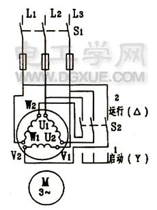 鼠笼式电动机星三角降压启动原理线路图