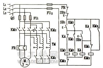 按钮、接触器、中间继电器控制的自耦变压器降压起动电路图