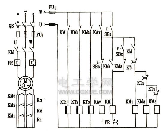 绕线式异步电动机转子电路串联电阻启动控制电路电路图