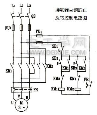 接触器互锁实现的电击真反转控制线路电路图