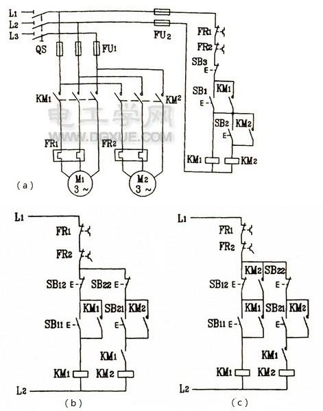 三相电动机控制电路实现顺序控制电路图解