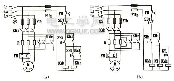 电动机串联电阻降压启动控制线路