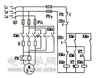 改良型时间继电器自动控制电动机电阻降压起动控制线路图