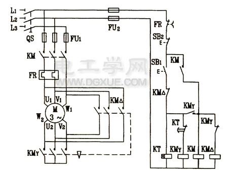 时间继电器自动控制电动机星三角降压启动电路图