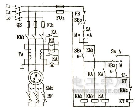 电动机转子回路接频敏变阻器启动控制电路图