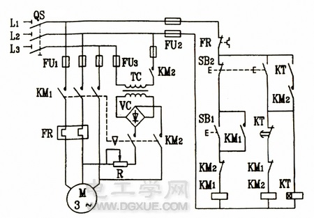 电动机有变压器全波整流单向启动能耗制动控制电路图
