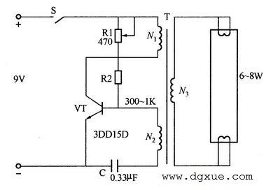 直流电给荧光灯供电的照明电路