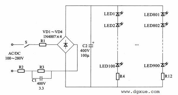 大功率LED平板灯电路图解