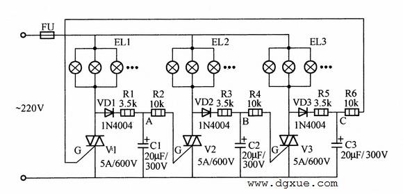 大功率流水式彩灯控制电路