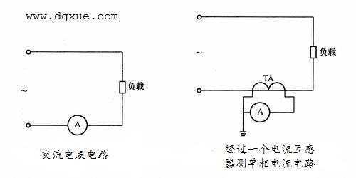经过一个电流互感器测量单相电流的电路