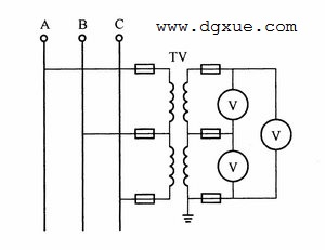 经过两个单相电压互感器测量三相线电压电路