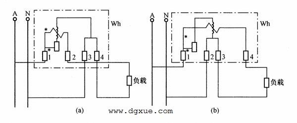 单相电表的两种直接接线电路图