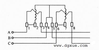 三相三线有功电表接线电路图