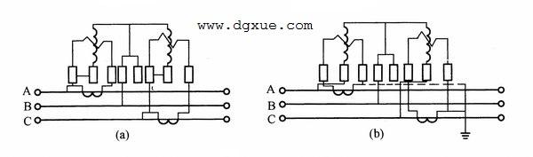 三相三线有功电表经过电流互感器接线测量线路耗电量的电路