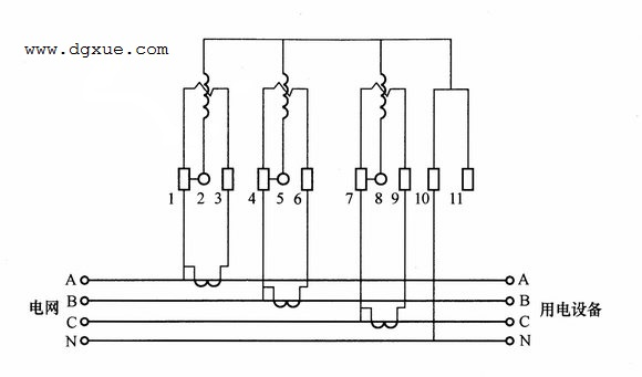 三相四线制有功电表经电流互感器接线图(二次绕组不接地)