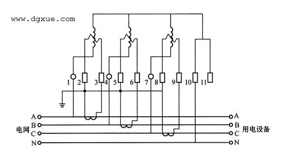 三相四线制有功电表经电流互感器接线图(二次绕组接地)