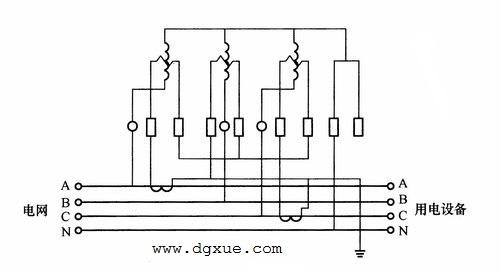 三相四线制有功电表经两个电流互感器测量三相电能接线图