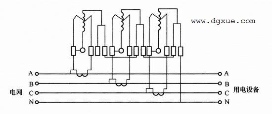 三只单相电表测量三相四线制线路电能接线图