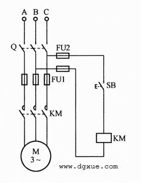 按钮控制的电动机点动控制电路