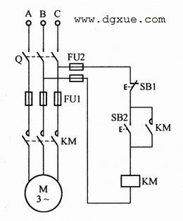 按钮启动后自锁的电动机接线电路图