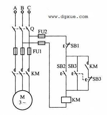 电动机点动断续旋转与自锁持续旋转电路接线图
