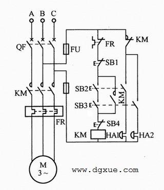 避免机械伤害的电动机两地控制电路