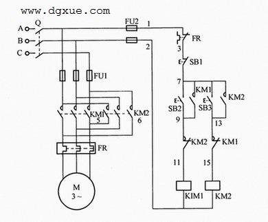 接触器互锁电动机正反转控制电路接线图