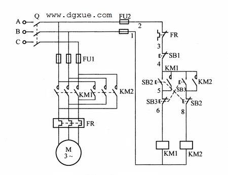 按钮互锁的电动机正反转控制电路接线图