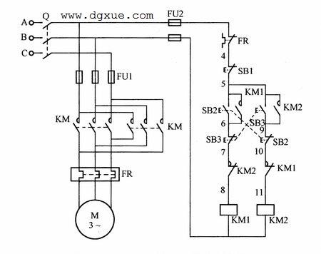 电动机双重互锁正反转控制电路接线图