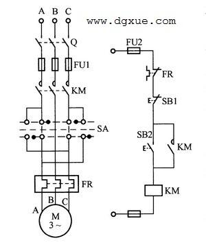转换开关预选电动机正反转的起停控制电路
