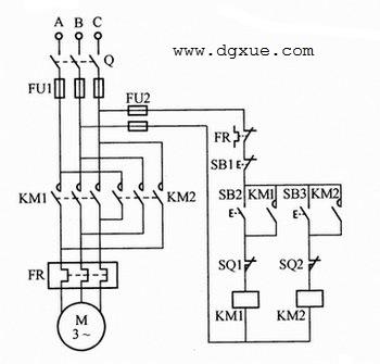 正反转方向可逆启动,行程开关控制电动机自动停止电路接线图