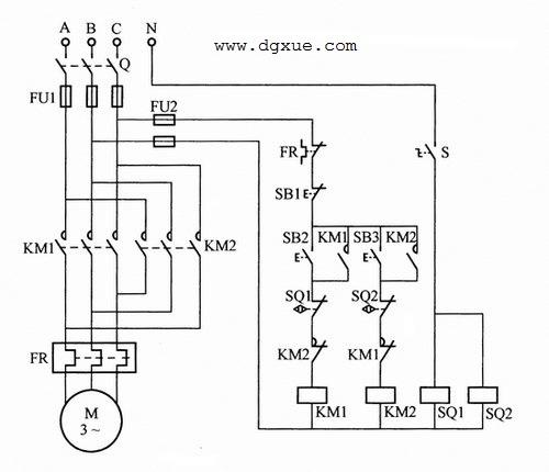 正反转方向可逆启动,接近开关控制电动机到行程自动停止电路