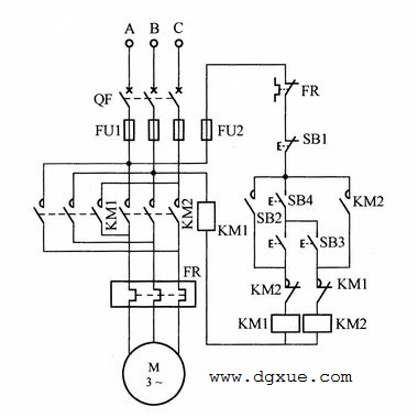 防止误启动(需同时按两个按钮)电动机正反转控制电路接线图