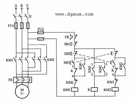 防止相间短路的电动机正反转控制电路接线图