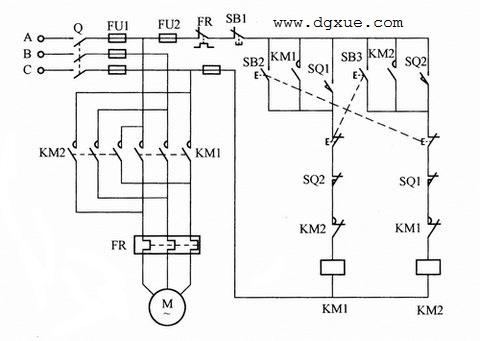 电动机自动循环行程控制电路接线图