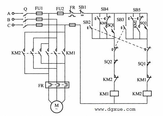 带点动的电动机自动循环控制电路接线图