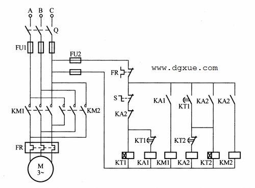 电动机正反转,限时自动往返(时间继电器)控制电路接线图