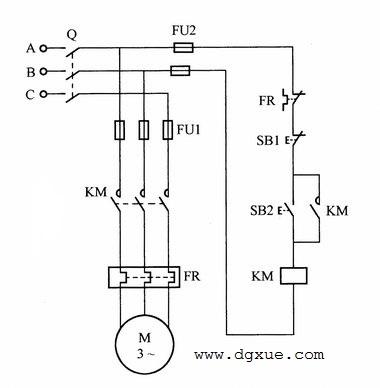 带热保护的电动机单向转动控制电路接线图