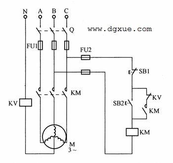 星形连接电动机带零序电压缺相保护单向转动控制电路