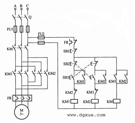 三个接触器组成电动机正反转控制电路接线图