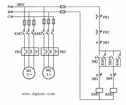两台电动机同时启动后一停一运行控制电路接线图