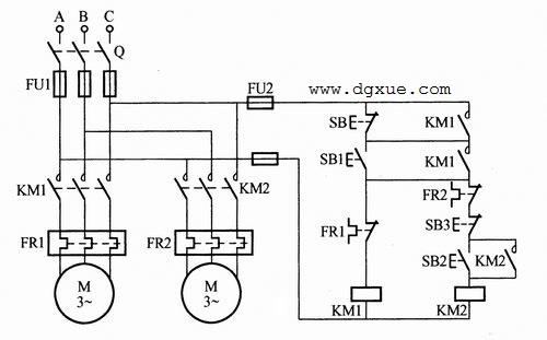两台电动机顺序启动和顺序停止控制电路接线图