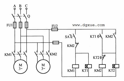 两台电动机交替工作控制电路接线图