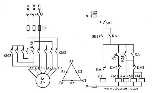 双速电动机自动加速控制电路接线图