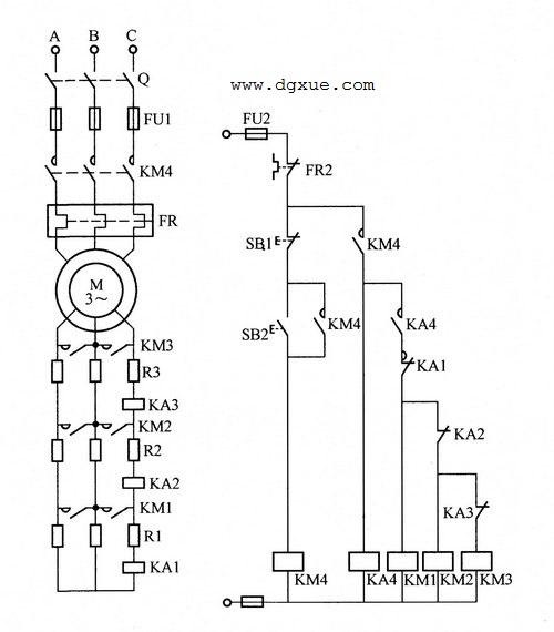 绕线转子异步电动机转子串联电阻启动控制电路