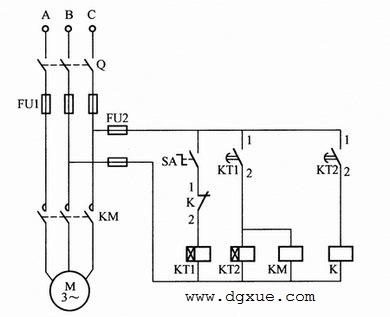 电动机间歇运行控制电路接线图