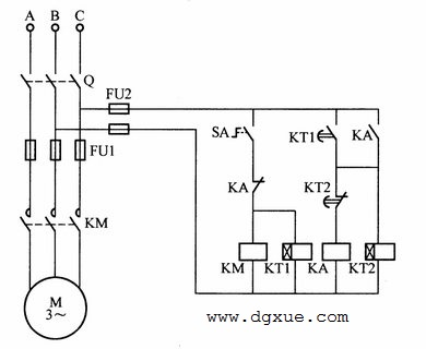 第二种电动机间歇运行控制电路接线图